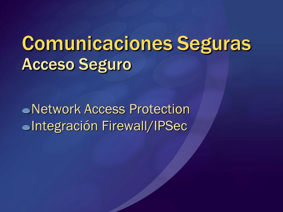 Comunicaciones Seguras Acceso Seguro Network Access Protection Integración Firewall/IPSec