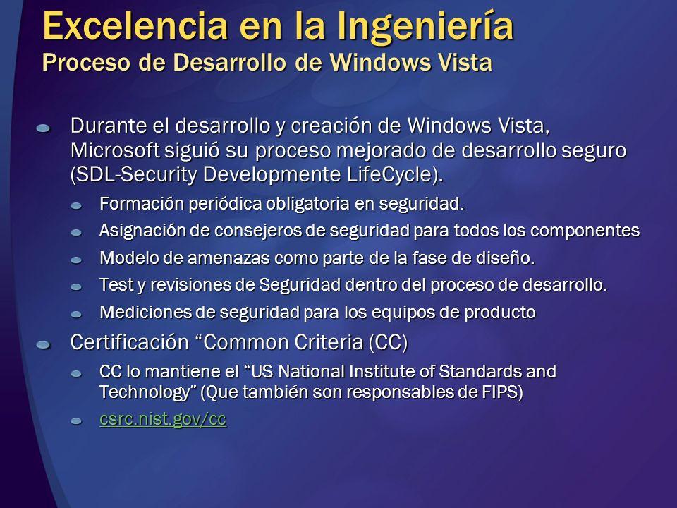 Excelencia en la Ingeniería Proceso de Desarrollo de Windows Vista Durante el desarrollo y creación de Windows Vista, Microsoft siguió su proceso mejo