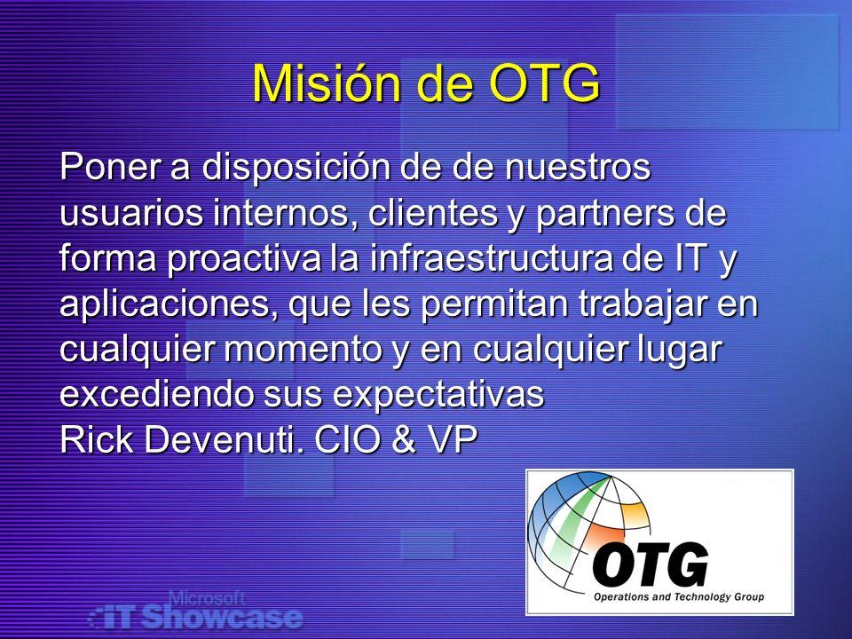 Misión de OTG Poner a disposición de de nuestros usuarios internos, clientes y partners de forma proactiva la infraestructura de IT y aplicaciones, qu
