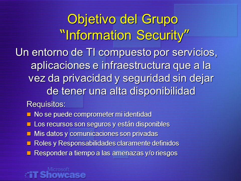 Objetivo del Grupo Information Security Objetivo del Grupo Information Security Un entorno de TI compuesto por servicios, aplicaciones e infraestructu