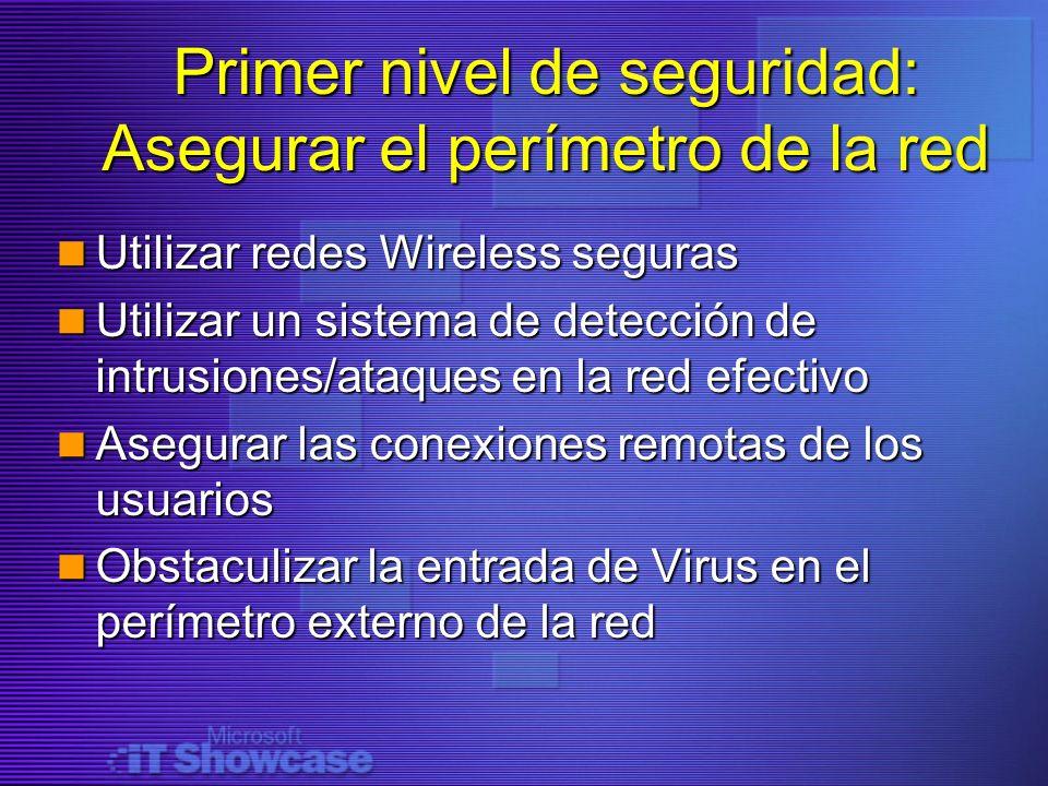 Primer nivel de seguridad: Asegurar el perímetro de la red Utilizar redes Wireless seguras Utilizar redes Wireless seguras Utilizar un sistema de dete