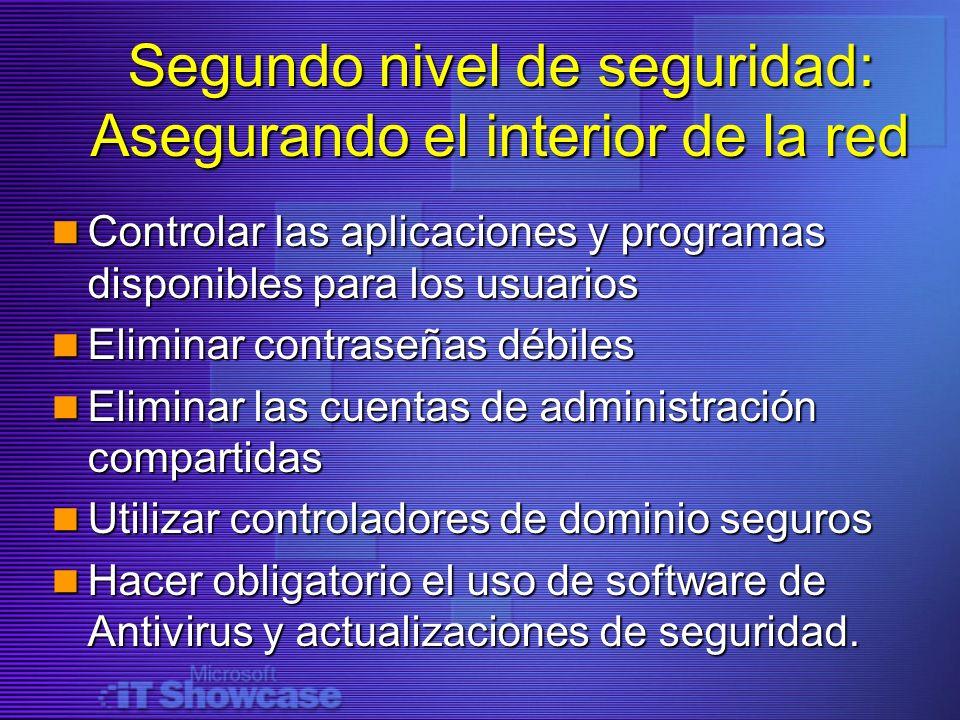 Segundo nivel de seguridad: Asegurando el interior de la red Controlar las aplicaciones y programas disponibles para los usuarios Controlar las aplica