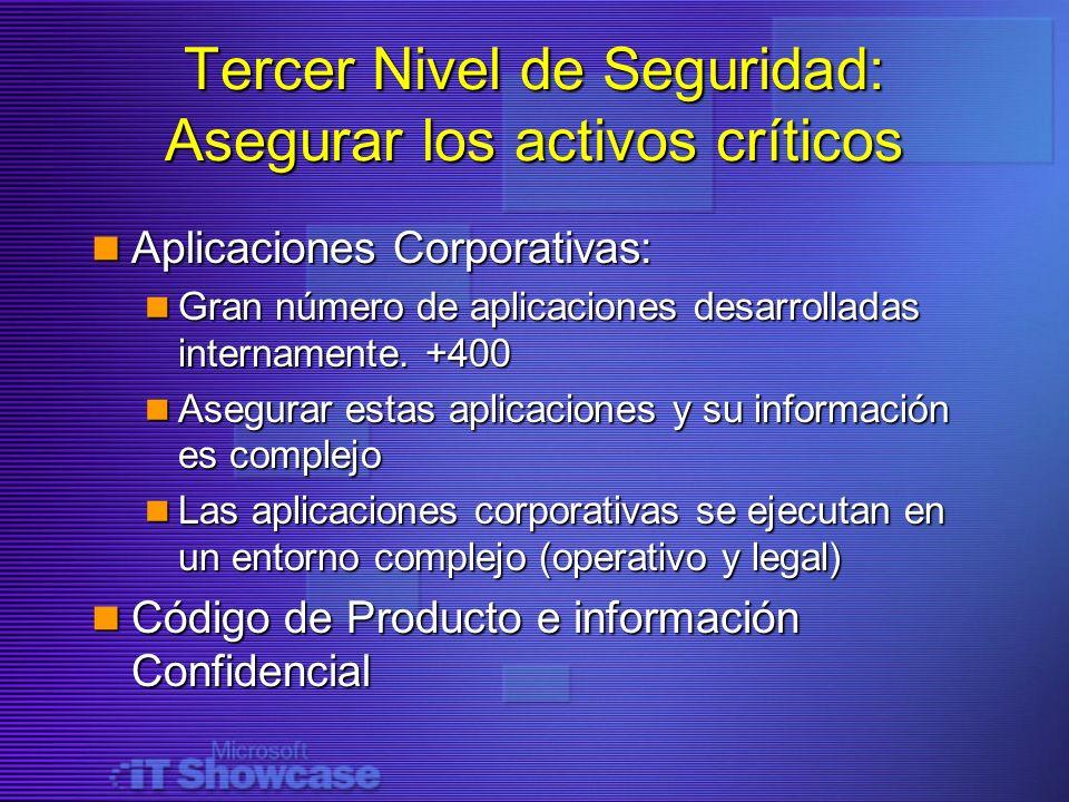 Tercer Nivel de Seguridad: Asegurar los activos críticos Aplicaciones Corporativas: Aplicaciones Corporativas: Gran número de aplicaciones desarrollad