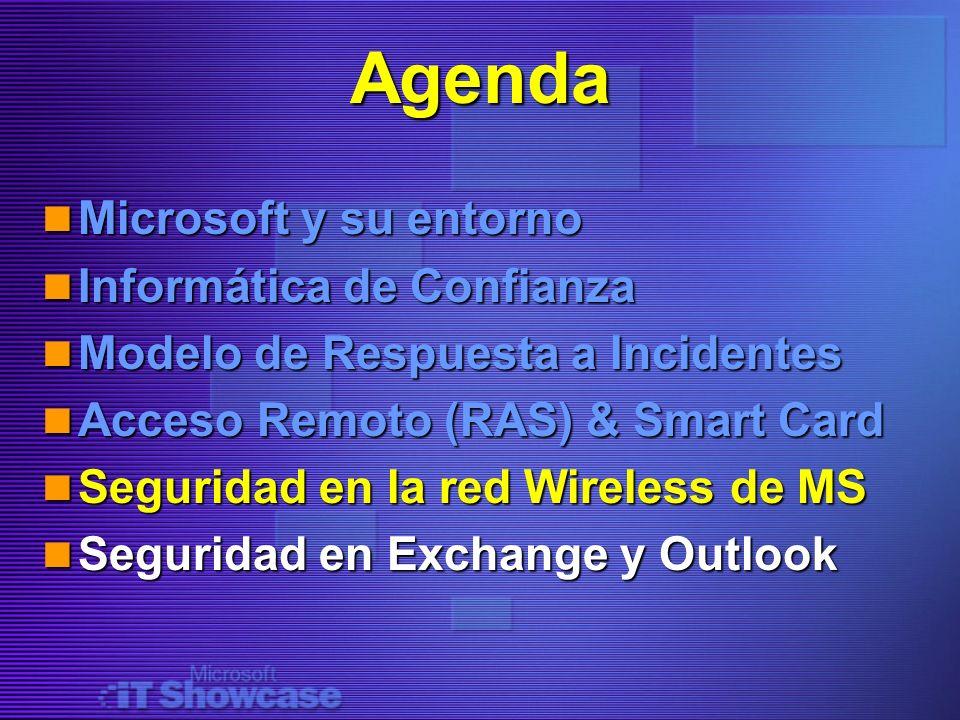 Agenda Microsoft y su entorno Microsoft y su entorno Informática de Confianza Informática de Confianza Modelo de Respuesta a Incidentes Modelo de Resp