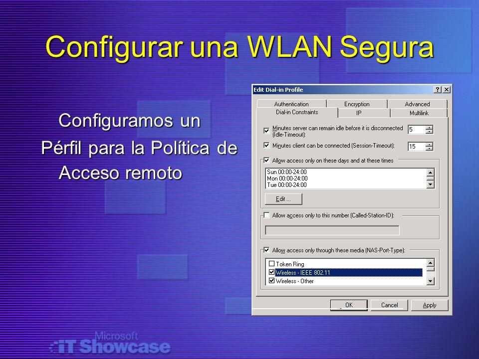 Configurar una WLAN Segura Configuramos un Configuramos un Pérfil para la Política de Acceso remoto