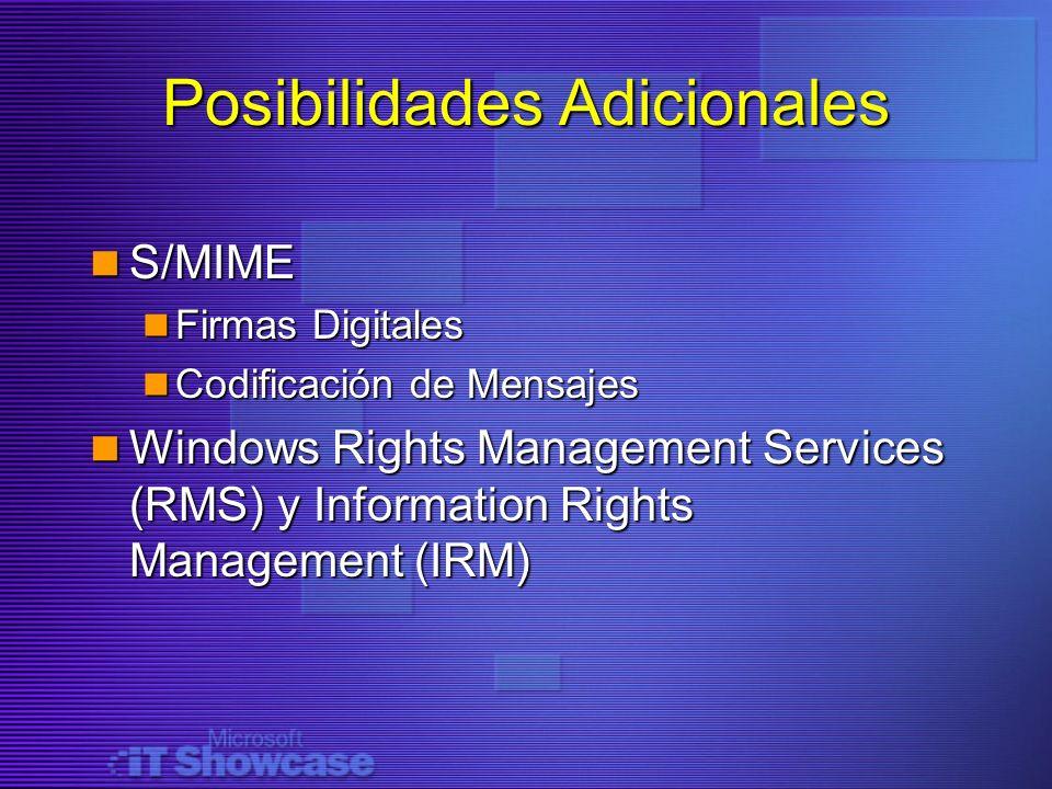 Posibilidades Adicionales S/MIME S/MIME Firmas Digitales Firmas Digitales Codificación de Mensajes Codificación de Mensajes Windows Rights Management