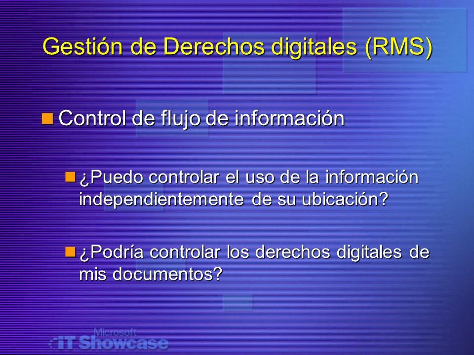 Gestión de Derechos digitales (RMS) Control de flujo de información Control de flujo de información ¿Puedo controlar el uso de la información independ