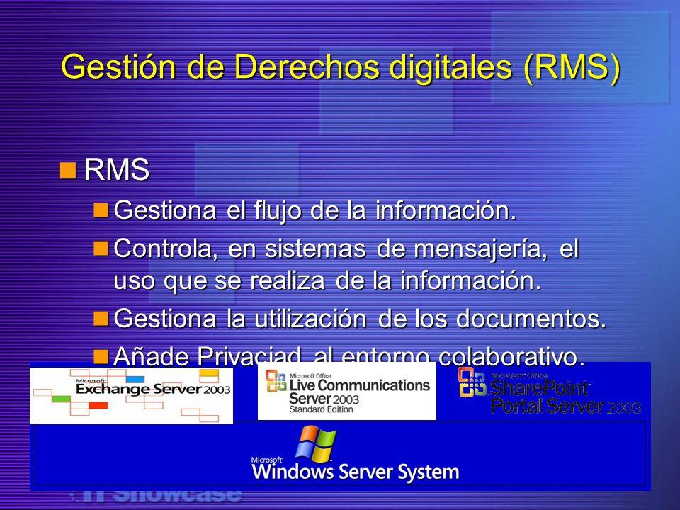 RMS RMS Gestiona el flujo de la información. Gestiona el flujo de la información. Controla, en sistemas de mensajería, el uso que se realiza de la inf