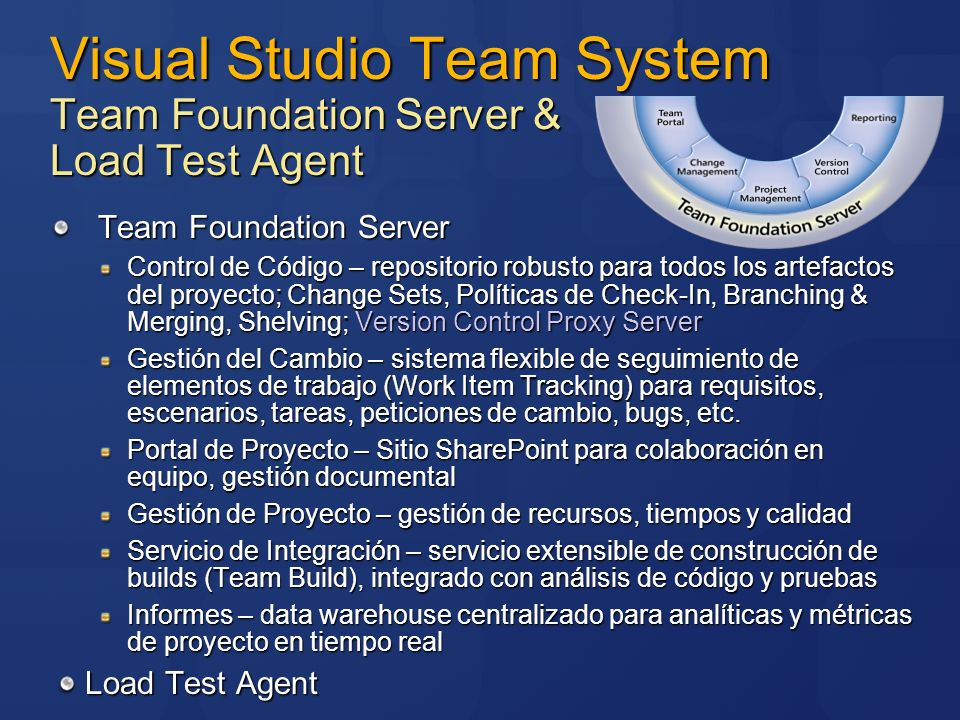 Visual Studio Team System Team Foundation Server & Load Test Agent Team Foundation Server Control de Código – repositorio robusto para todos los artef