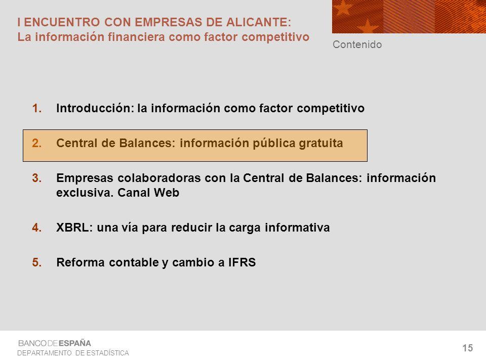DEPARTAMENTO DE ESTADÍSTICA 15 I ENCUENTRO CON EMPRESAS DE ALICANTE: La información financiera como factor competitivo Introducción: la información co