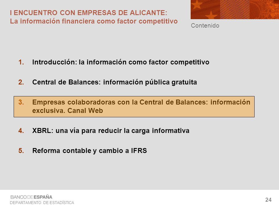 DEPARTAMENTO DE ESTADÍSTICA 24 Introducción: la información como factor competitivo Central de Balances: información pública gratuita Empresas colabor