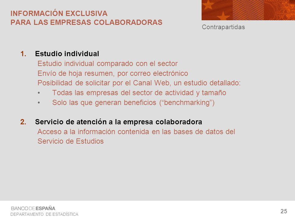 DEPARTAMENTO DE ESTADÍSTICA 25 Estudio individual Estudio individual comparado con el sector Envío de hoja resumen, por correo electrónico Posibilidad