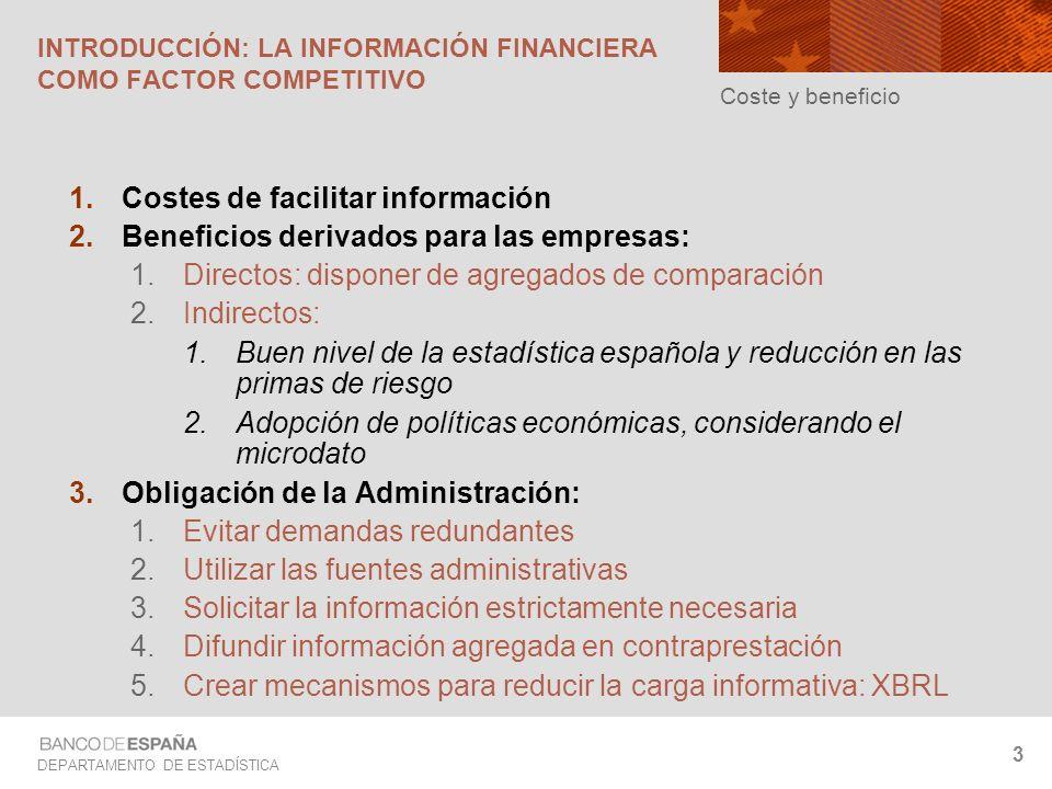 DEPARTAMENTO DE ESTADÍSTICA 3 INTRODUCCIÓN: LA INFORMACIÓN FINANCIERA COMO FACTOR COMPETITIVO Costes de facilitar información Beneficios derivados par