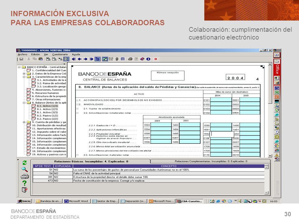 DEPARTAMENTO DE ESTADÍSTICA 30 Colaboración: cumplimentación del cuestionario electrónico INFORMACIÓN EXCLUSIVA PARA LAS EMPRESAS COLABORADORAS