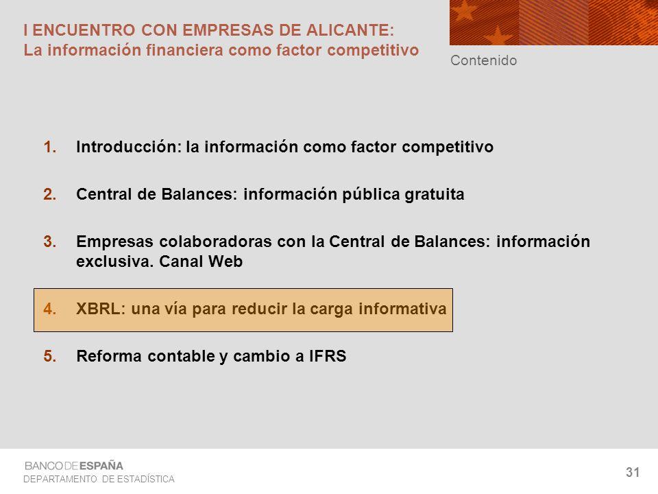 DEPARTAMENTO DE ESTADÍSTICA 31 I ENCUENTRO CON EMPRESAS DE ALICANTE: La información financiera como factor competitivo Introducción: la información co