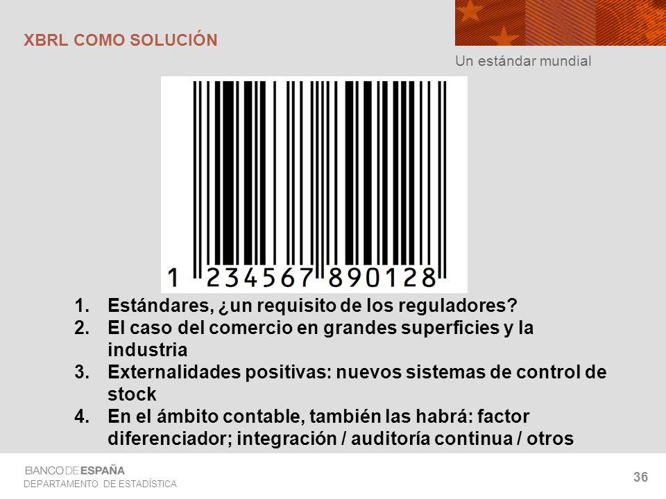 DEPARTAMENTO DE ESTADÍSTICA 36 Un estándar mundial XBRL COMO SOLUCIÓN 1.Estándares, ¿un requisito de los reguladores? 2.El caso del comercio en grande