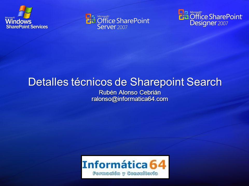 Detalles técnicos de Sharepoint Search Rubén Alonso Cebrián ralonso@informatica64.com
