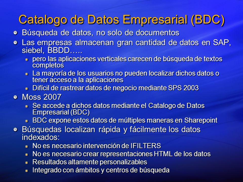 Metadata Business Data Catalog Web Parts ListsSearch User Profiles Custom Apps Database WS Proxy ADO.NET Web Service SQL Server, Oracle, OLEDB, ODBC Microsoft BizTalk, SAP, Siebel, Legacy, List store SearchIndex Profile Store Catalogo de Datos Empresarial (BDC)