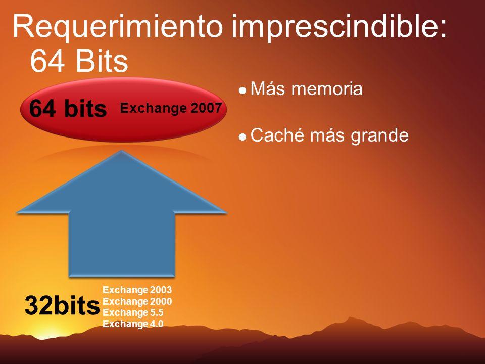 Requerimiento imprescindible: 64 Bits Más memoria Caché más grande 32bits Exchange 2003 Exchange 2000 Exchange 5.5 Exchange 4.0 64 bits Exchange 2007