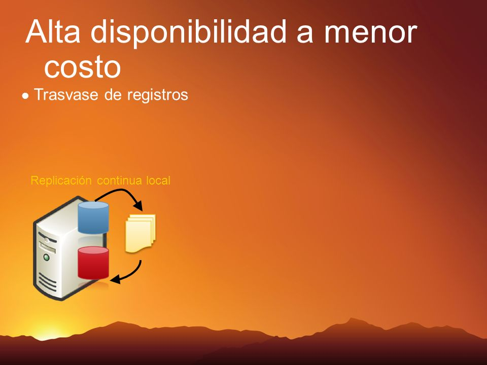 Replicación continua local Alta disponibilidad a menor costo Trasvase de registros