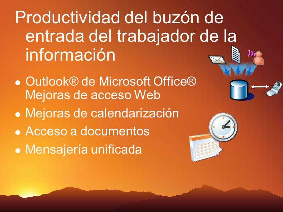 Productividad del buzón de entrada del trabajador de la información Outlook® de Microsoft Office® Mejoras de acceso Web Mejoras de calendarización Acceso a documentos Mensajería unificada