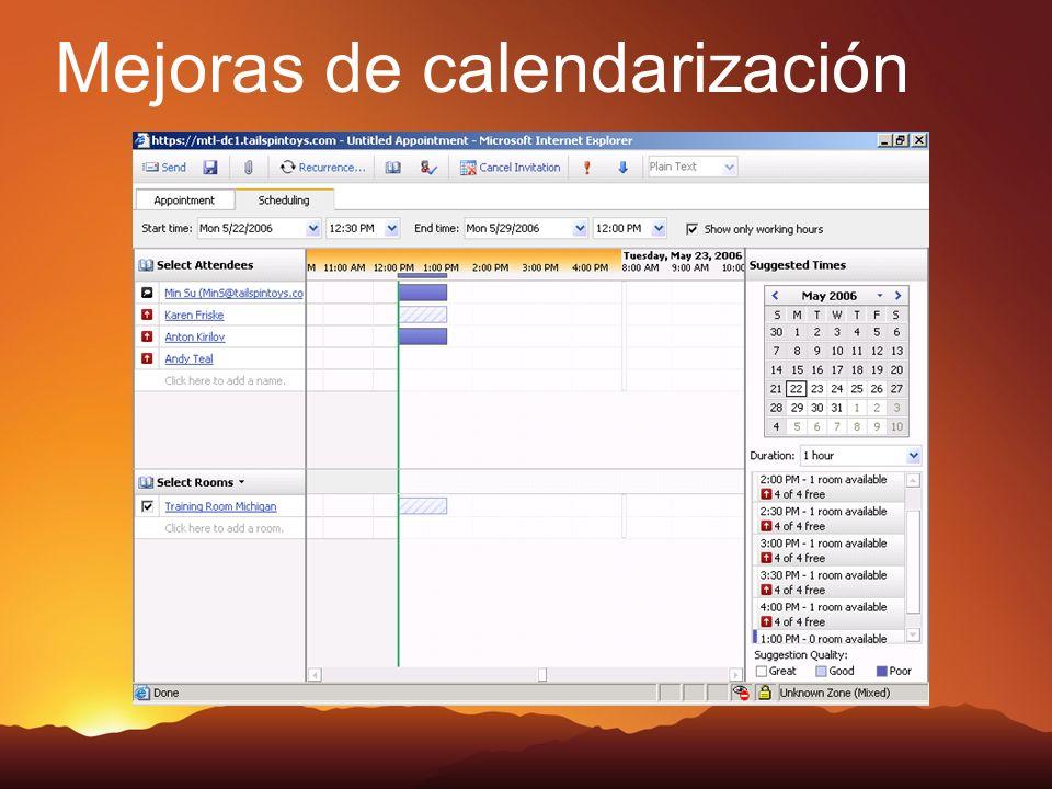 Mejoras de calendarización