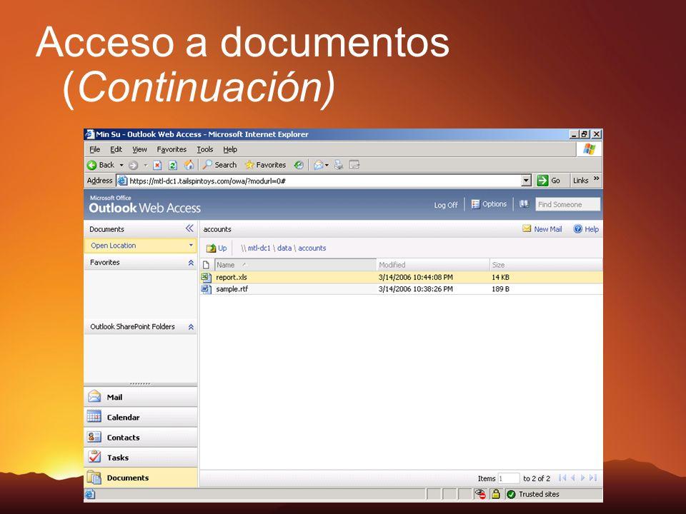 Acceso a documentos (Continuación)