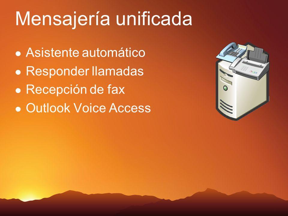 Mensajería unificada Asistente automático Responder llamadas Recepción de fax Outlook Voice Access