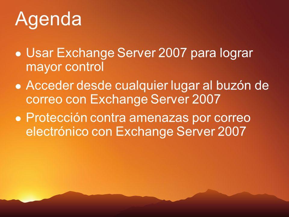 Agenda Usar Exchange Server 2007 para lograr mayor control Acceder desde cualquier lugar al buzón de correo con Exchange Server 2007 Protección contra amenazas por correo electrónico con Exchange Server 2007