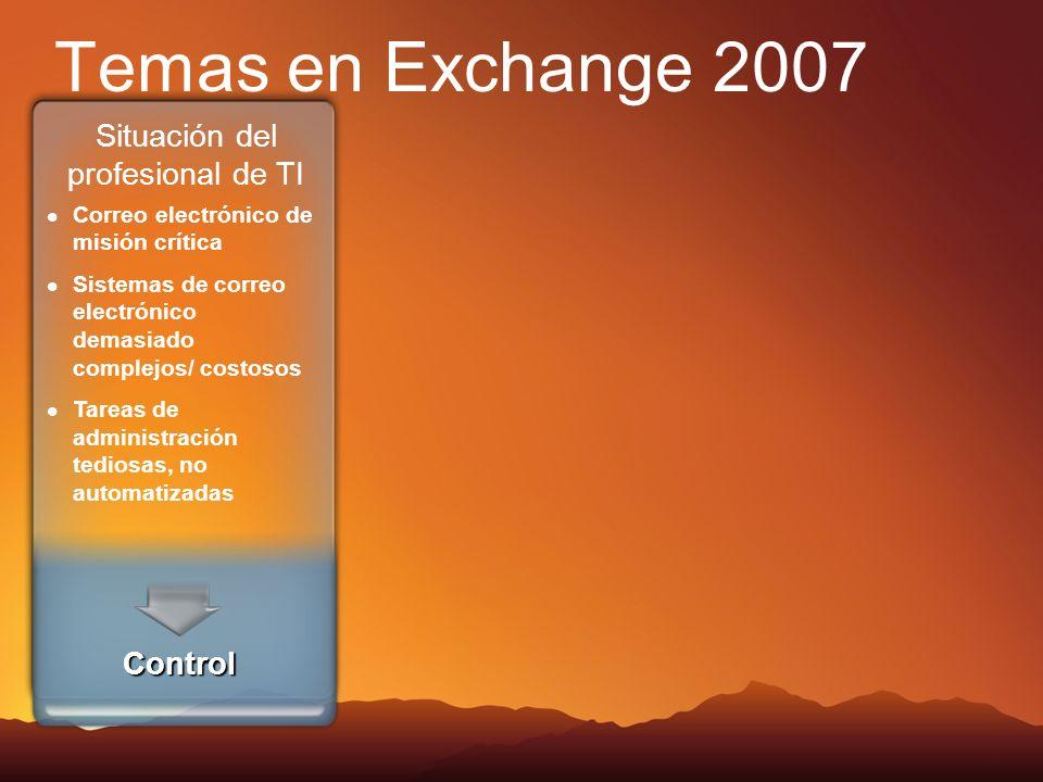 Temas en Exchange 2007 Correo electrónico de misión crítica Sistemas de correo electrónico demasiado complejos/ costosos Tareas de administración tediosas, no automatizadas Control Situación del profesional de TI