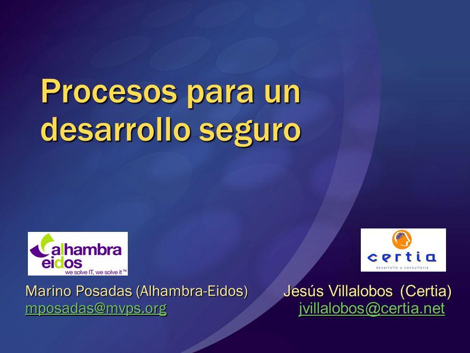 Procesos para un desarrollo seguro Marino Posadas (Alhambra-Eidos) mposadas@mvps.org Jesús Villalobos (Certia) jvillalobos@certia.net