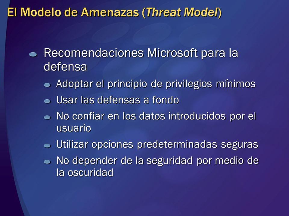 El Modelo de Amenazas (Threat Model) Recomendaciones Microsoft para la defensa Adoptar el principio de privilegios mínimos Usar las defensas a fondo N