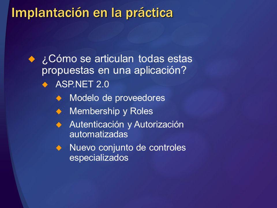 Implantación en la práctica ¿Cómo se articulan todas estas propuestas en una aplicación? ASP.NET 2.0 Modelo de proveedores Membership y Roles Autentic