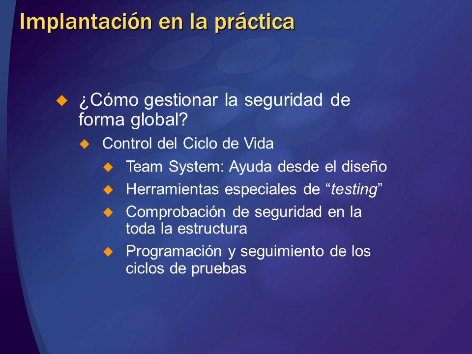 Implantación en la práctica ¿Cómo gestionar la seguridad de forma global? Control del Ciclo de Vida Team System: Ayuda desde el diseño Herramientas es