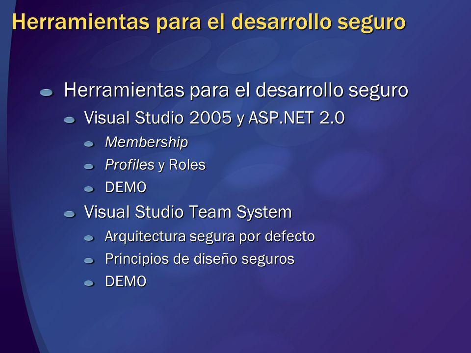 Herramientas para el desarrollo seguro Visual Studio 2005 y ASP.NET 2.0 Membership Profiles y Roles DEMO Visual Studio Team System Arquitectura segura