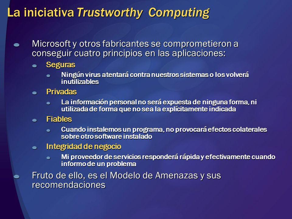 La iniciativa Trustworthy Computing Microsoft y otros fabricantes se comprometieron a conseguir cuatro principios en las aplicaciones: Seguras Ningún