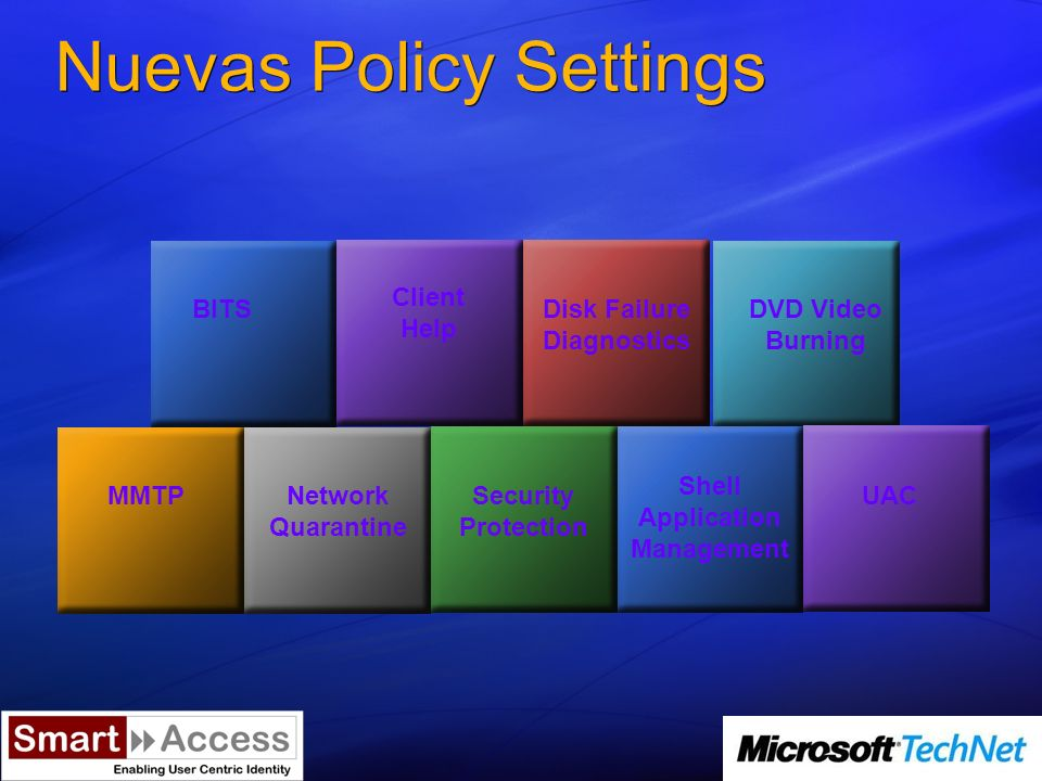 Nuevas Policy Settings BITS Client Help Disk Failure Diagnostics DVD Video Burning MMTPNetwork Quarantine Security Protection Shell Application Management UAC