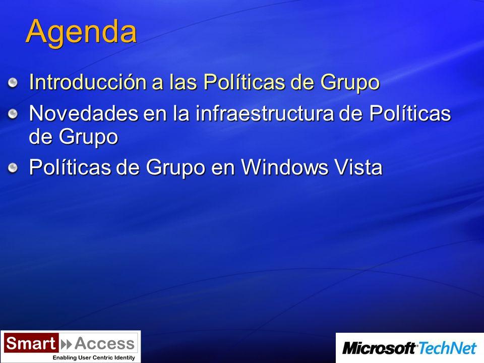 Agenda Introducción a las Políticas de Grupo Novedades en la infraestructura de Políticas de Grupo Políticas de Grupo en Windows Vista