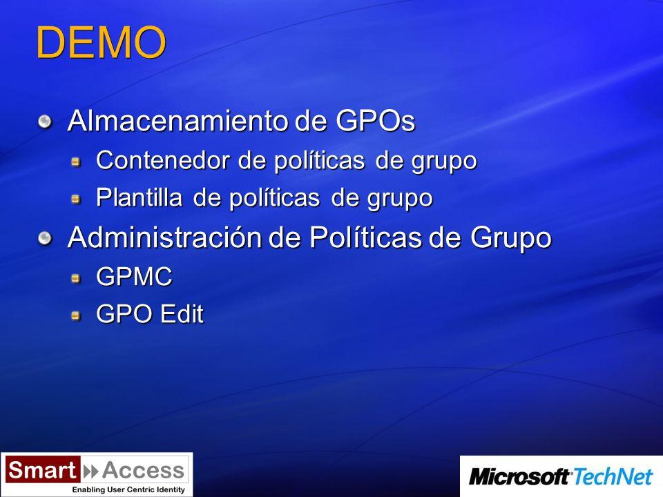 DEMO Almacenamiento de GPOs Contenedor de políticas de grupo Plantilla de políticas de grupo Administración de Políticas de Grupo GPMC GPO Edit