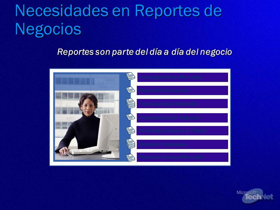 Necesidades en Reportes de Negocios Reportes son parte del día a día del negocio Reportes Financieros Operaciones/Inventarios Proyecciones de Negocios