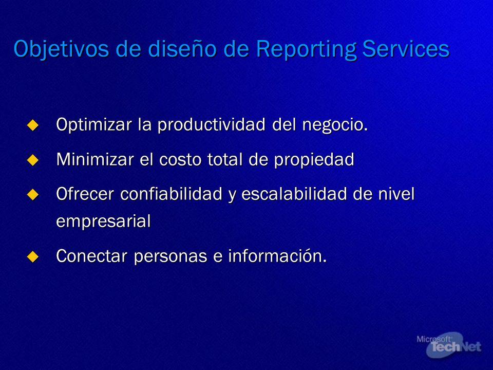 Objetivos de diseño de Reporting Services Optimizar la productividad del negocio. Optimizar la productividad del negocio. Minimizar el costo total de