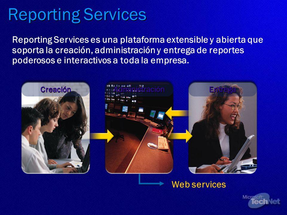 Reporting Services Reporting Services es una plataforma extensible y abierta que soporta la creación, administración y entrega de reportes poderosos e