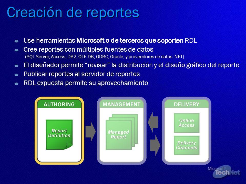 Creación de reportes Use herramientas Microsoft o de terceros que soporten RDL Cree reportes con múltiples fuentes de datos (SQL Server, Access, DB2,