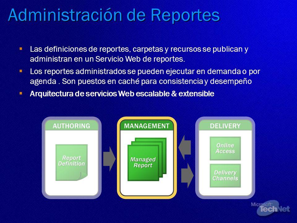 Administración de Reportes Las definiciones de reportes, carpetas y recursos se publican y administran en un Servicio Web de reportes. Los reportes ad