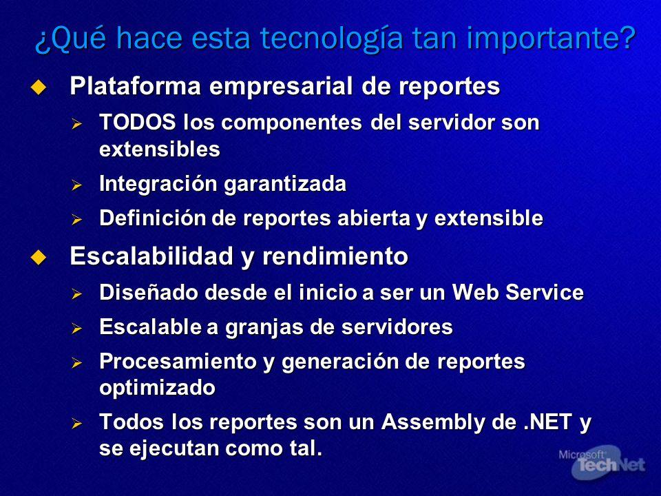 ¿Qué hace esta tecnología tan importante? Plataforma empresarial de reportes Plataforma empresarial de reportes TODOS los componentes del servidor son