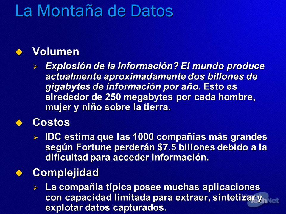 Volumen Volumen Explosión de la Información? El mundo produce actualmente aproximadamente dos billones de gigabytes de información por año. Esto es al