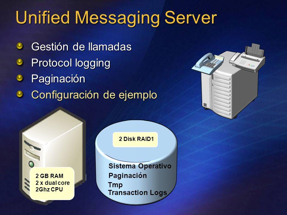 Unified Messaging Server Gestión de llamadas Protocol logging Paginación Configuración de ejemplo 2 Disk RAID1 2 GB RAM 2 x dual core 2Ghz CPU Sistema