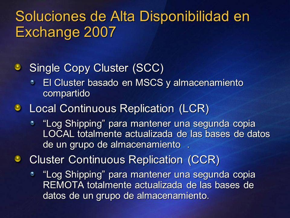 Soluciones de Alta Disponibilidad en Exchange 2007 Single Copy Cluster (SCC) El Cluster basado en MSCS y almacenamiento compartido Local Continuous Re