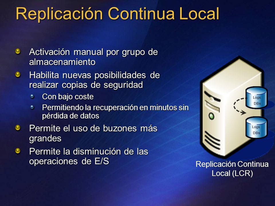 Replicación Continua Local Activación manual por grupo de almacenamiento Habilita nuevas posibilidades de realizar copias de seguridad Con bajo coste