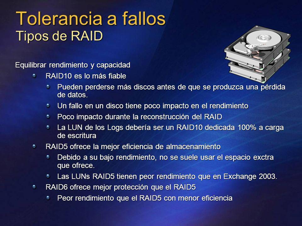 Tolerancia a fallos Tipos de RAID Equilibrar rendimiento y capacidad RAID10 es lo más fiable Pueden perderse más discos antes de que se produzca una p